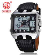 Hot OHSEN AD0930 Men Sports Watches Analog Digital Quartz 3ATM Waterproof Dive Fashion Military Watch Relogio Male Clock Gifts цена