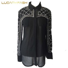 Luoanyfash sexy perspective beading blouse female luxury all match crystal pearls geometric silk shirt European style women