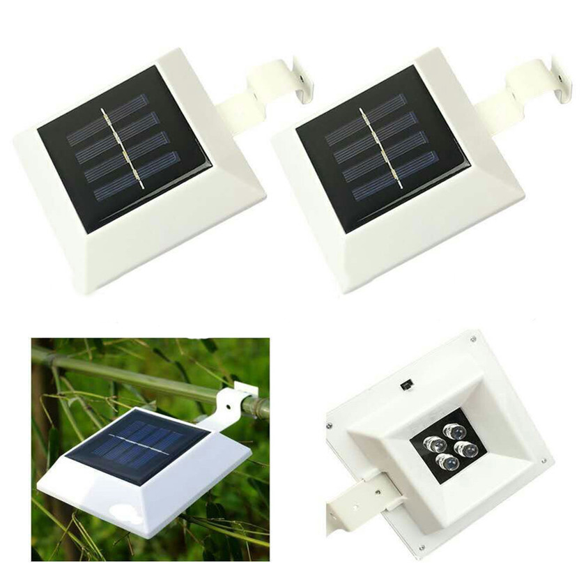 High Quality 4 LED Solar Power Garden Outdoor Fence Light lobby Yard Wall Gutter Pathway Lamp