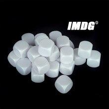 10 unidades/pacote novo acrílico 16mm branco em branco dados de ensino adereços acessórios do jogo ferramentas matemáticas canto arredondado