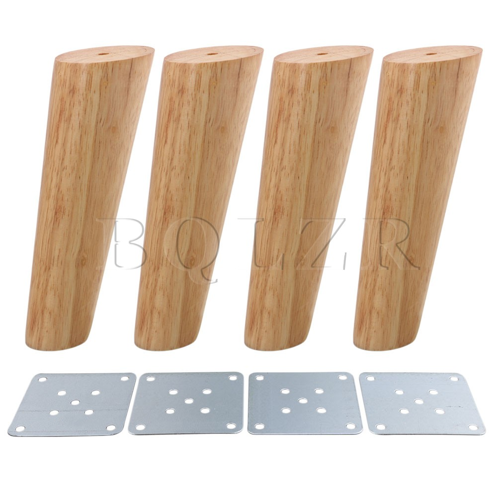 BQLZR 18cm Height Wood Color Oblique Tapered Reliable Wood Furniture Cabinets Legs Sofa Feets Pack of 4