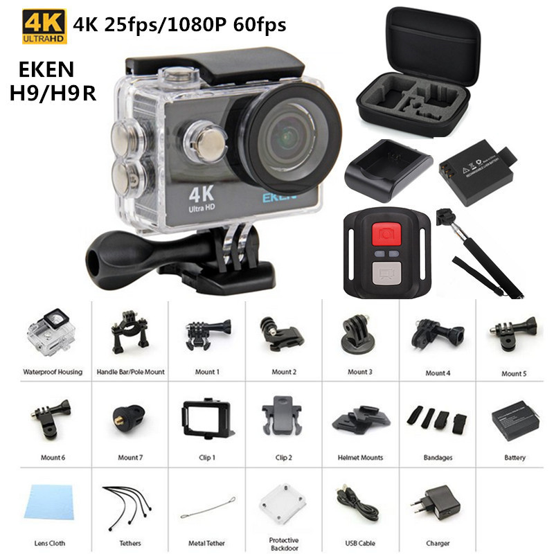 Original EKEN H9 / H9R remote Action camera Ultra HD 4K WiFi 1080P/60fps 2.0 LCD 170D lens Helmet Cam go waterproof pro camera original eken sports camera h9 h9r action camera 4k 25fps with remote 2 0 helmet ultra hd cam underwater go waterproof pro
