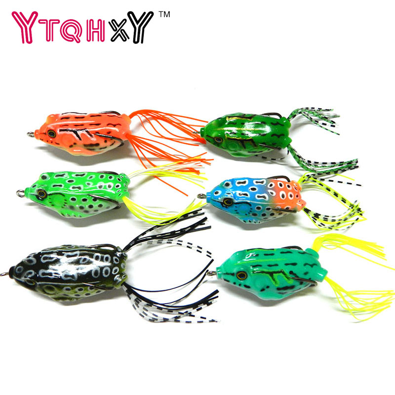 YTQHXY New Soft Frog Lure Bass Fishing Double Hooks Bait Crankbaits fishing Tackle Topwater Gear Accessories