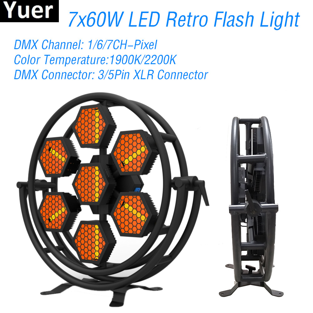 New 7x60W LED Retro Flash Light 1/6/7Channel DMX512 DJ Sound Party Equipment Flashing Lights Dance Club Disco Stage Effect Light