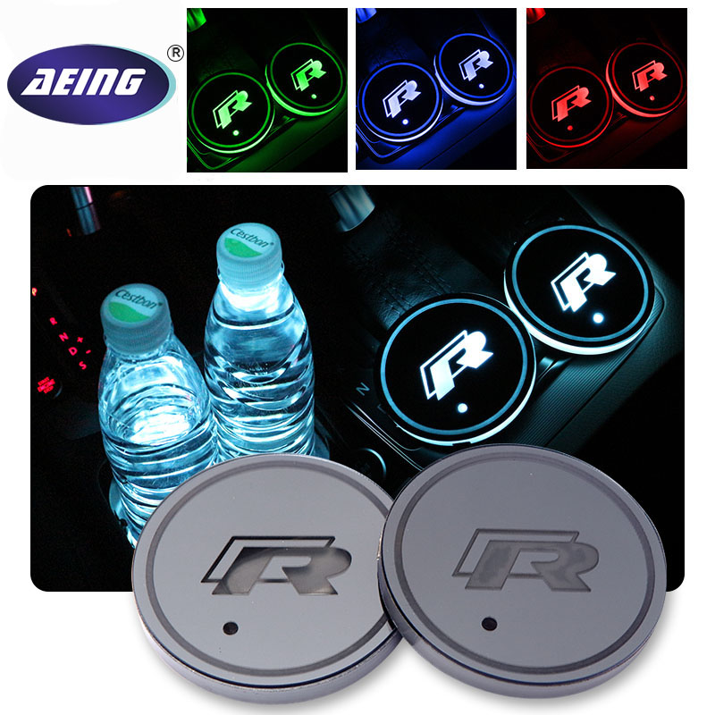AEING 2 pcs Car Multicolor LED R Cup Coaster for Volkswagen VW Golf 6 GTI passat