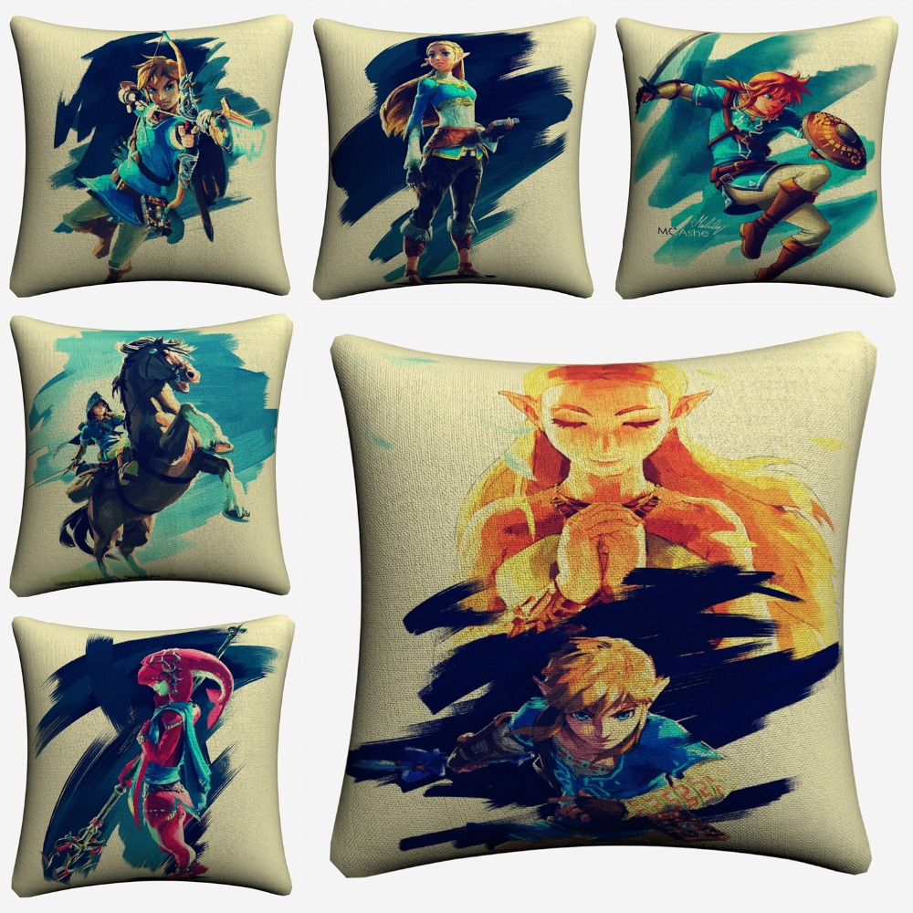 Zelda Characters Watercolor Artwork Cotton Linen Cushion Covers 45x45cm Soft Throw Pillow Case For Sofa Almofada Home Decor