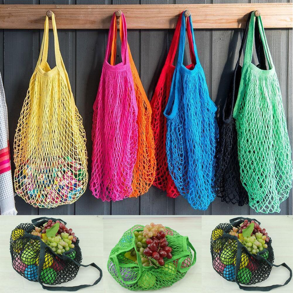Large Mesh Net Turtle String Shopping Bags Durable Fruit Storage Handbag Tote CA