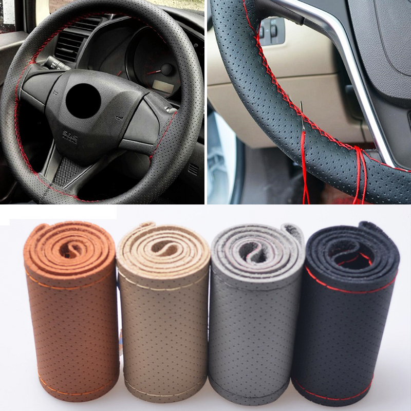 "15/"" Genuine Leather Car Steering Wheel Cover Hand Stitching DIY Universal Brown"