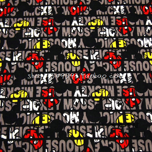 140X100cm Mickey Mouse White <font><b>Glove</b></font> Yellow Shoes Red Pant Black Cotton Fabric Baby Boy Cloth Bedding Set Hometextile DIY-AFCK598