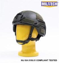 MILITECH Casco táctico a prueba de balas, Oliver Drab OD MICH NIJ Level IIIA, casco de aramida ACH ARC OCC Dial Liner Aramid Ballistic Helmet