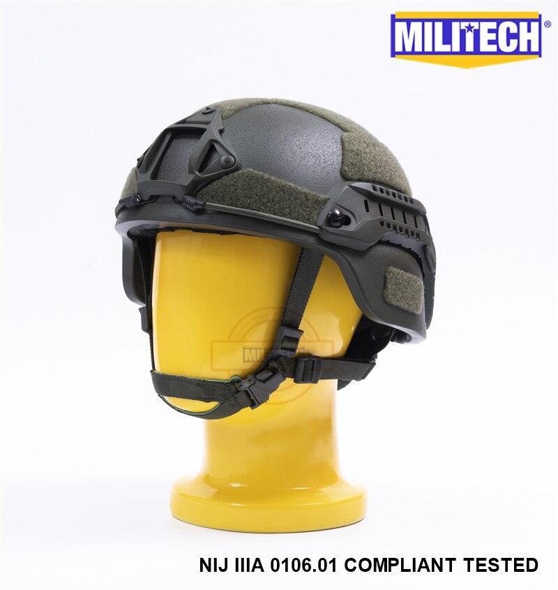 MILITECH Oliver Drab OD MICH NIJ Level IIIA Tactical Bulletproof Aramid Helmet ACH ARC OCC Dial Liner Aramid Ballistic Helmet