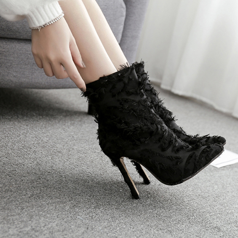 Pluma Black Negro De Mujer Para Lujo Punta Tacón Tobillo Swe0390 Zapatos Borla Toe Botas Sexy Fiesta w1ZEAnqtvv