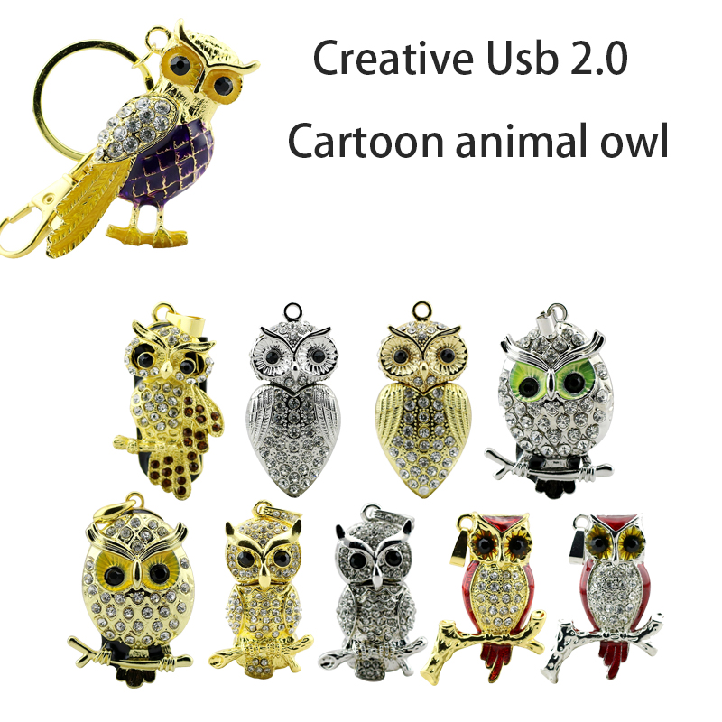 verklig kapacitet USB Flash Drive Diamond Metal Material Owl Cartoon USB 2.0 Flash Drive U-disk till 4 GB 8 GB 16 GB 32 GB flash-enhet