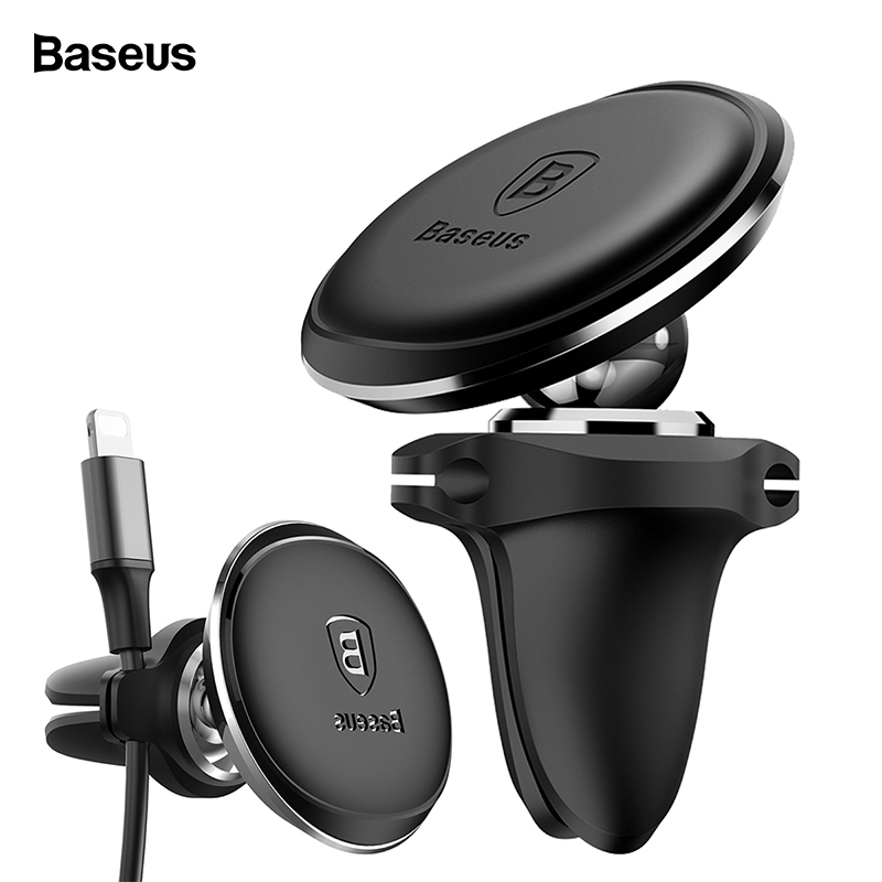 Baseus Magnetic Car Phone Holder With Cable Winder Magnet Air Vent Car Mount Hol