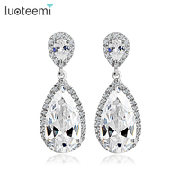 High Quality Hearts And Arrows Cut Wedding Jewelry Clear CZ Heavy Teardrop Bridal Earrings With