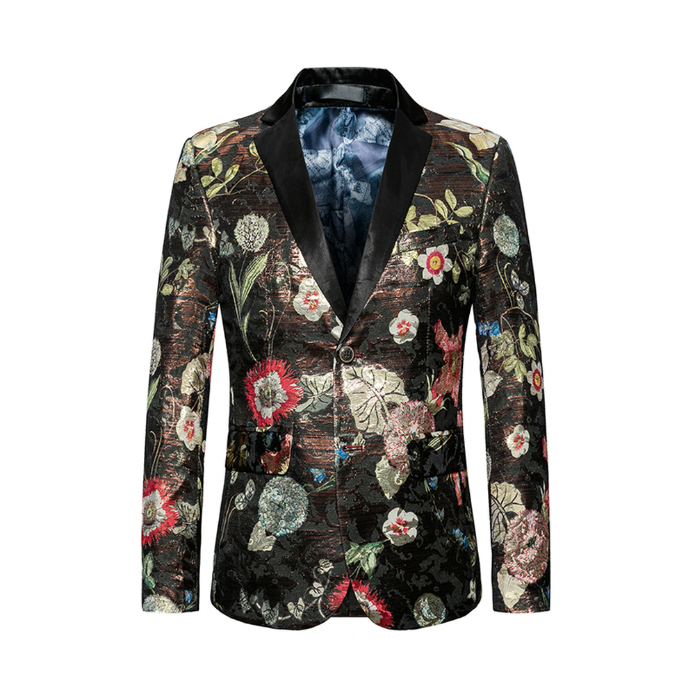 Plus Size 6XL Fashion Suit Jacket Mens Colorful Multi Flower Printing Autumn Spring Coat Casual Slim Fit Blazers For Prom Party