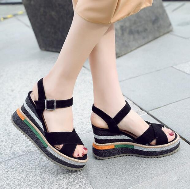 New arrival women high platform wedge sandals black grey shoes buckle strap peep-toe ladies casual shoes suede Summer sandals new fashion women high platform wedge sandals open toe buckle strappy gold rivet sandals ladies casual and party shoes sandals
