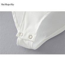Long Sleeve Bodysuit Women Backless Jumpsuits Black White Body