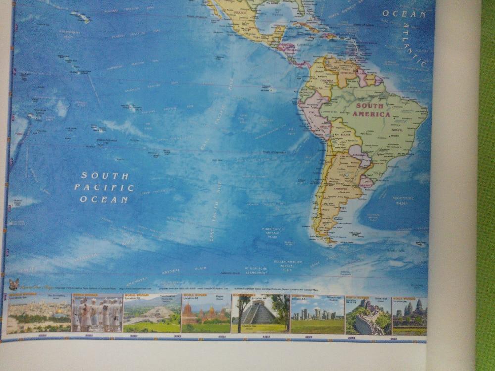 209 * 100 Cm Real Cloth Large World Map Ocean Wallpaper