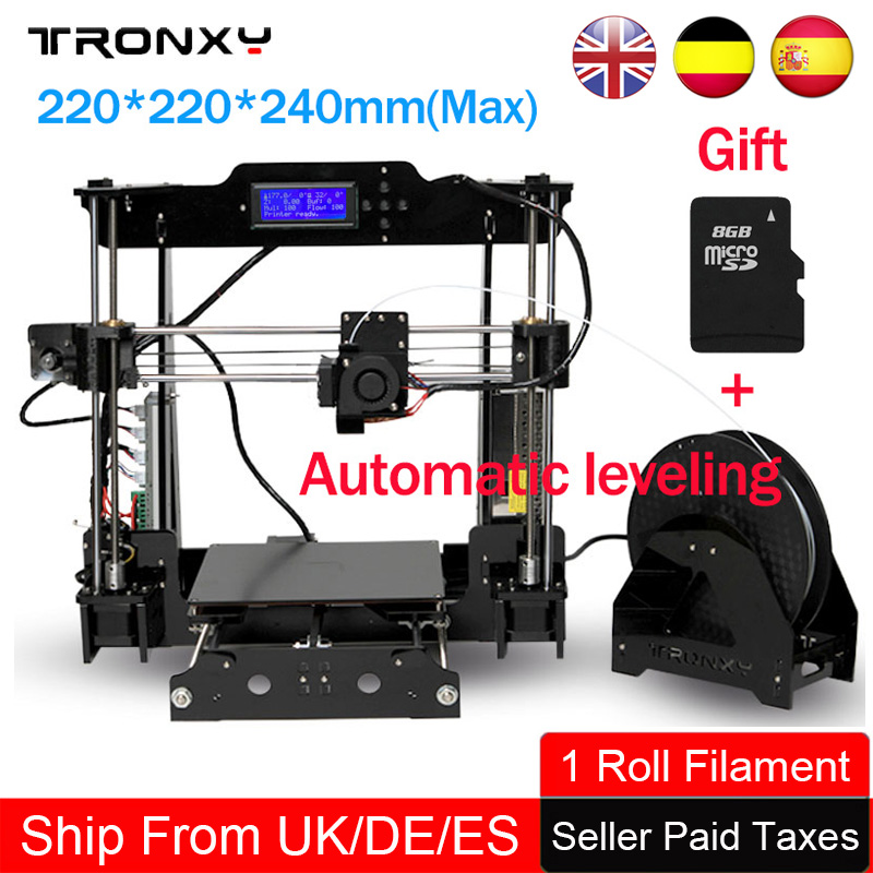 Tronxy Auto Leveling 3d Printer DIY Precision Reprap 3D Printing Size 220*220*240mm Cheap 3d Printer kit 1 Roll Filament SD card 2016 upgrade free shipping 3d printer high precision reprap prusa i3 220 220 240mm 3d printer diy kit 0 5kg filament 8g sd card