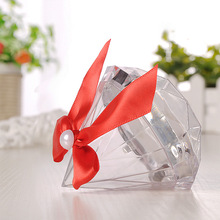 1pc Wedding Decoration Jewelry Ring Box with Bowknot Clear Diamond Shape Candy Flower Birthday Party Anniversary Boxes