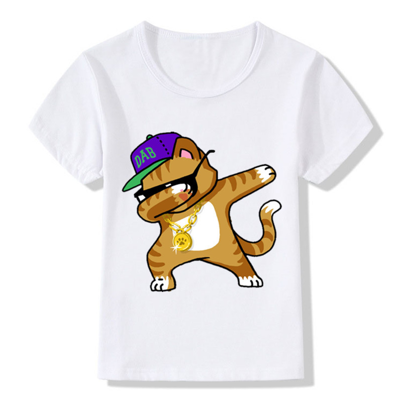 Children Dabbing Unicorn Cartoon Funny T-Shirts Kids Summer Tops Girls Boys Short Sleeve T Shirt Rabbit/Cat Baby Clothes,ooo2081