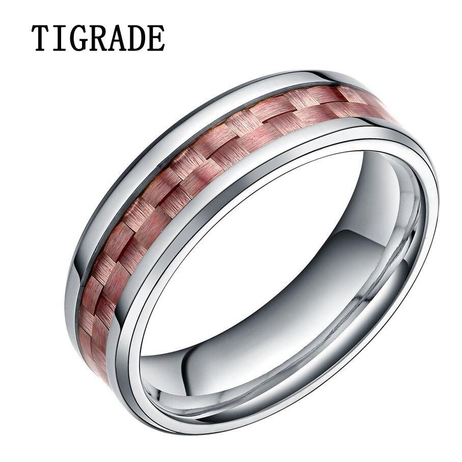 TIGRADE 6mm Carbon Fiber Inlay Silver Titanium Ring Men High Polished Engagement Wedding Band Finger Bagues SIZE 5-9