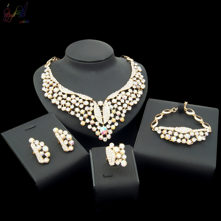 YULAILI Free Shipping Rhinestone Gold Color Brazilian Ladies Costume Alloy Jewelry Set actionclub fabric oxford cloth wardrobe closet diy assembly multifunction large wardrobe folding portable cabinet home furniture