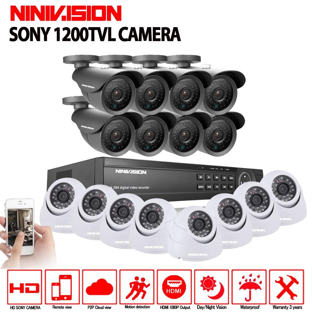 Sony 16CH AHD 1080N 1080P DVR CCTV Home Security Camera System 16PCS IR Outdoor 1200TVL Video