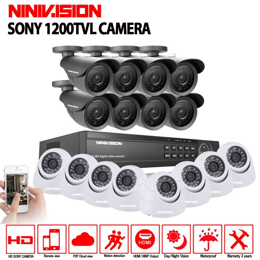 Sony 16CH AHD 1080N 1080P DVR CCTV Home Security Camera System 16PCS IR Outdoor 1200TVL Video Surveillance Home night vision kit