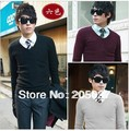 freeshipping Uyuk deep v neck multicolor basic sweater men's knitted sweaters no.22509