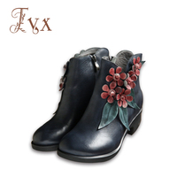 Tayunxing Handmade Shoes Genuine Leather Women Ankle Boots Flower Comfort Med Heel Retro Zip Floral Square