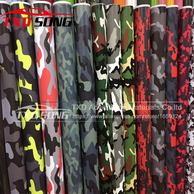 Premium quality large digital woodland green camouflage vinyl film sticker wrap decal army camouflage vinyl by
