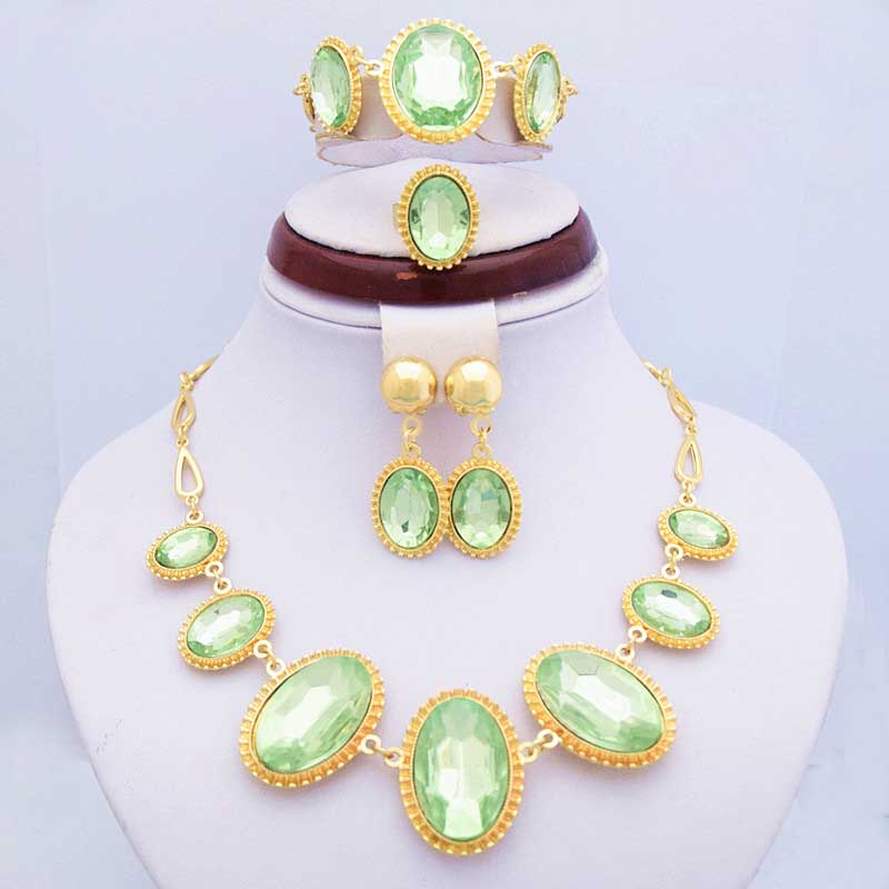 Good Quality Luxury Big Green Rhinestone Women Costume Jewelry Sets Free Shipping