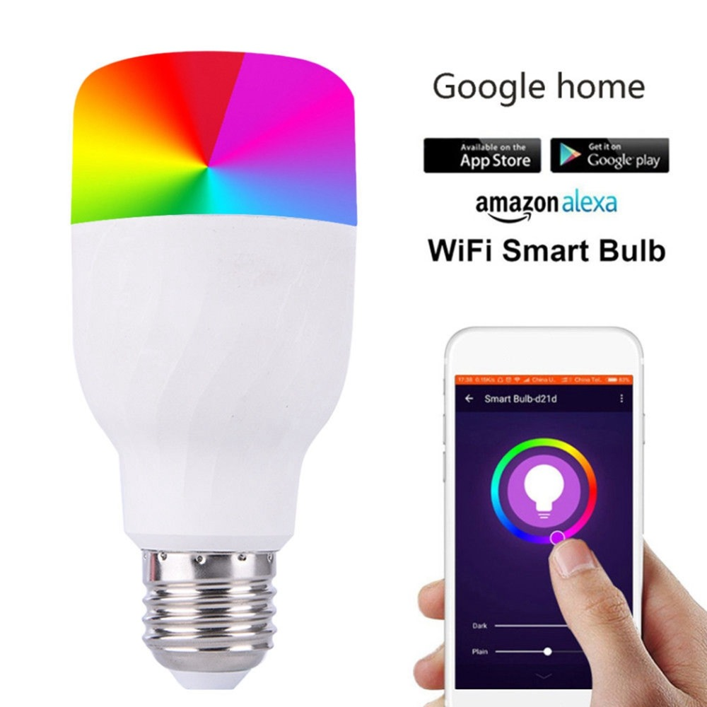 WiFi Remote Control Smart LED Bulb E27/E26 RGBW Light APP For Alexa Google Home Color Changing RGB Magic Light Bulb Lamp