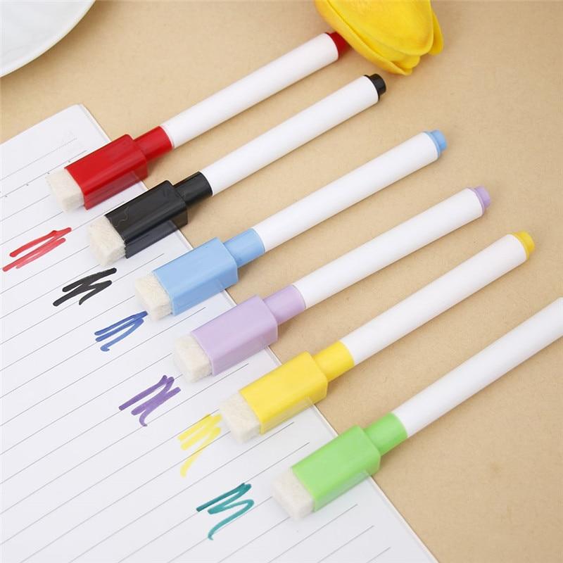 6Pcs/Lot Colorful Ink Whiteboard Marker Pen Set With Eraser Marker Pen Children Kids Gift Stationery Erasable Marker Pen