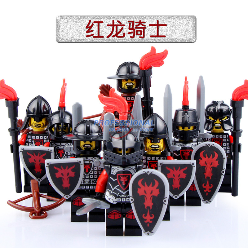 DR.TONG 8pcs/Lot  Red Dragon  Kingdom Medieval Castle Knights with Weapons Figures Classic Building Blocks Child Toys 21pcs lot medieval castle knights the lord of the rings mini building blocks brick toys armor the hobbit gladiatus figures