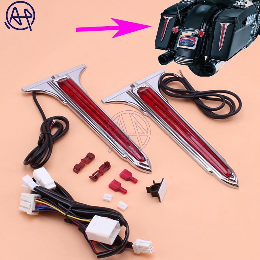 1set Chrome Wedge LED Rear Saddlebag Accents Light Warning Stop Light Red Lenses Kit For Harley Touring FLT FLH