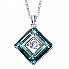 925 sterling silver inside swarovski crystal beating heart necklaces fashion design charms square sugar necklace women jewelry(China)