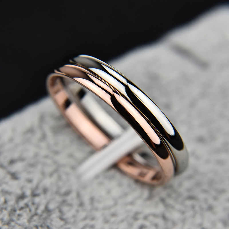 1pcs Sell Titanium Steel Rose Gold Anti-allergy Smooth Simple Wedding Couples Rings Bijouterie for Man or Woman Gift