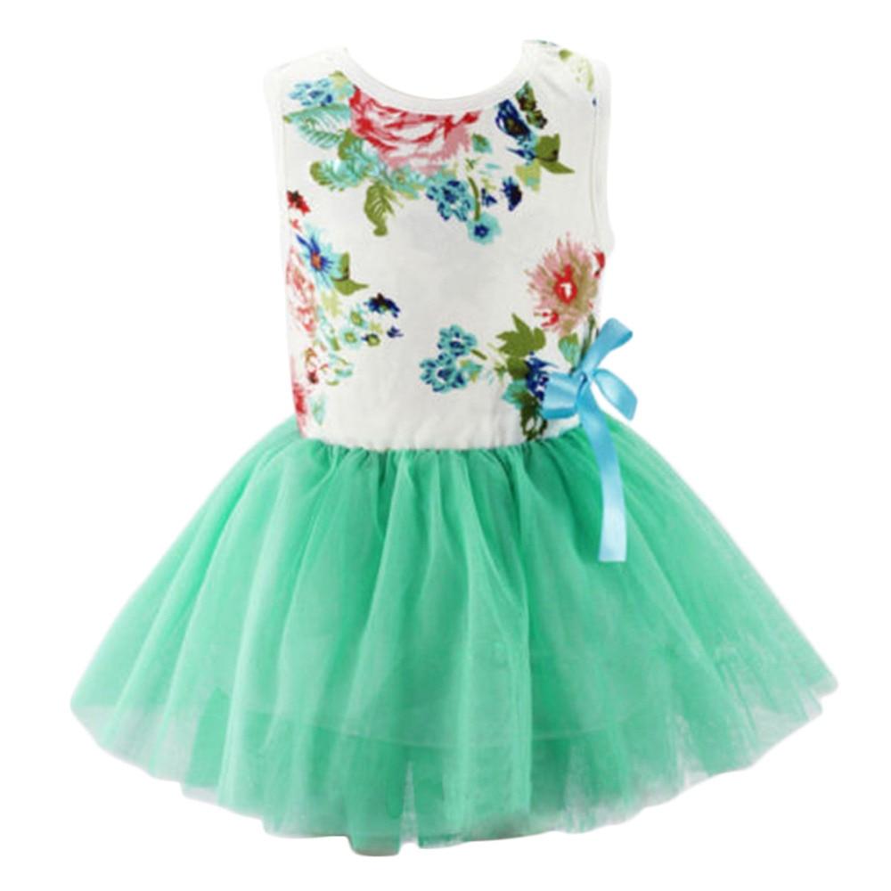 summer baby girl bowknot flower princess dress toddler