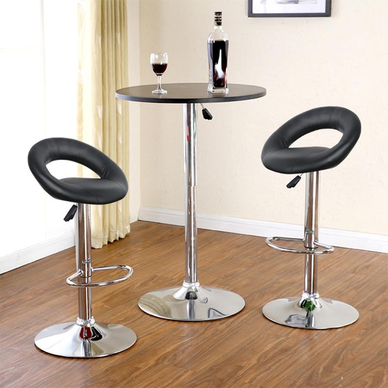 2pcs/set European Artificial PU Leather Bar Stool Chair Moon Shaped Backrest Adjustable Chairs Quality Le Tabouret De Bar HWC