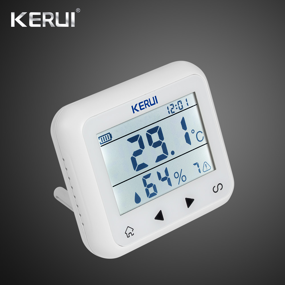 KERUI 433MHz Upgraded Wireless LED Display Adjustable Temperature Alarm Detector Sensor Protection for Home Alarm System new wired temperature adjustable detector for all the alarm system low high temperature alarm function led display alarm sensors