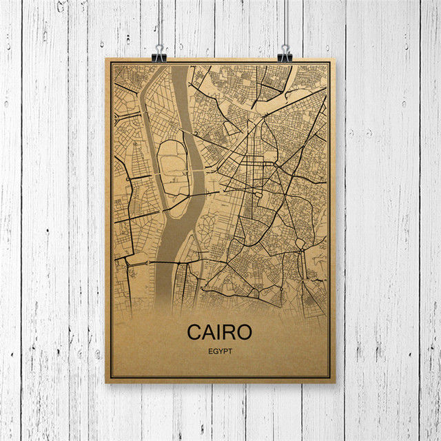 Hot Sale World Map Cairo Retro Painting Krafts Paper Vintage Poster