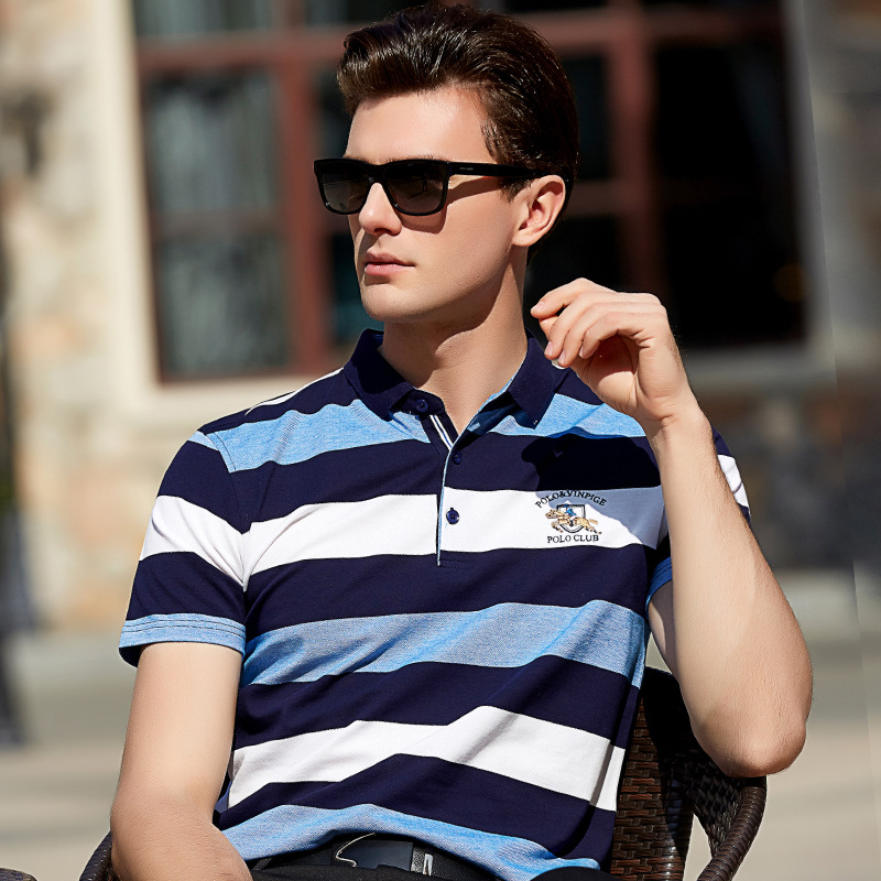 2018 Spring Summer Brand Clothing   Polo   Shirt Men Homme High Quality Tops Embroidery Jerseys Cotton Striped Short Sleeve L-8513