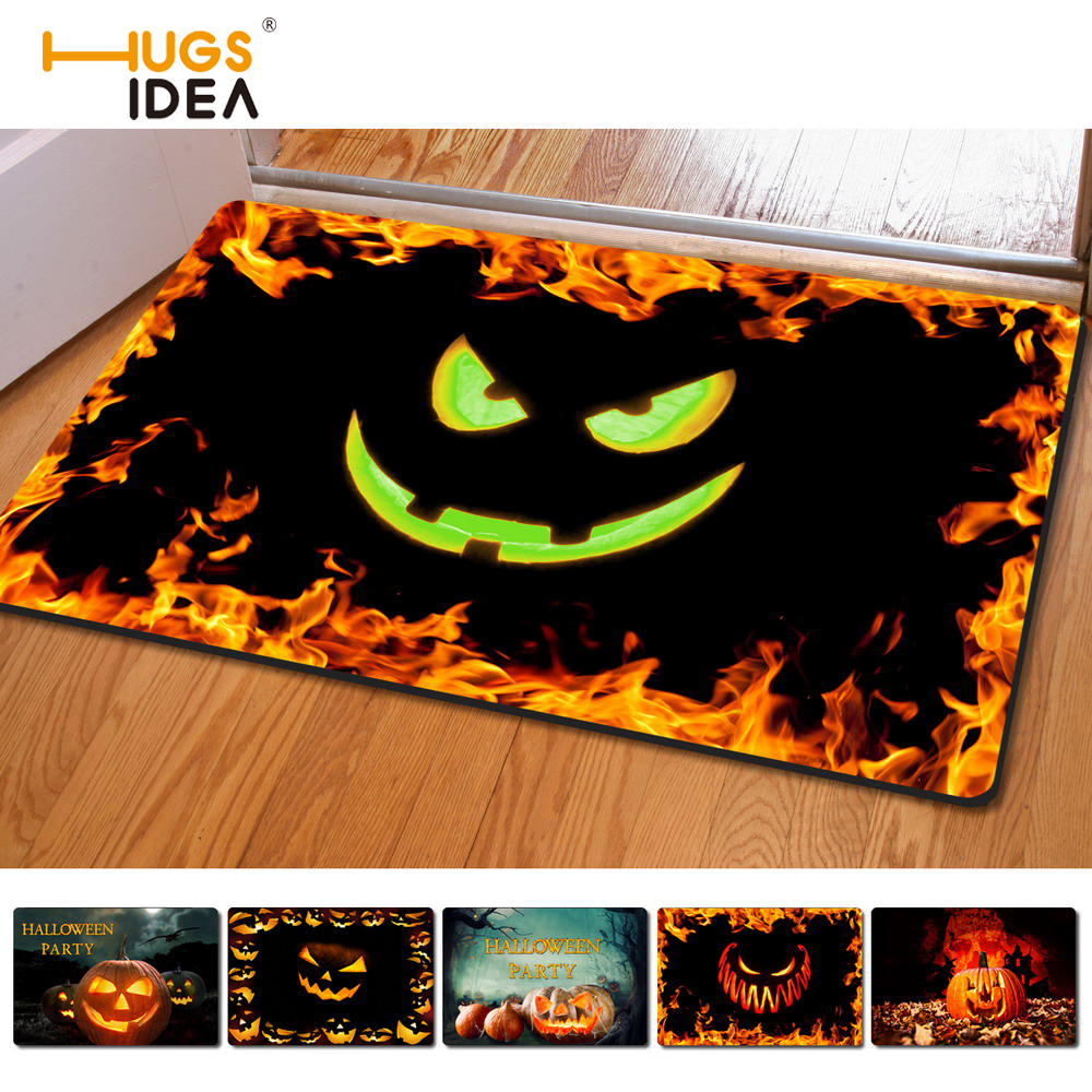 hugsidea halloween pumpkin loper welcome carpet commercial home decoration mat outdoor rugs anti slip floor mat kitchen tapetes - Commercial Halloween Decorations