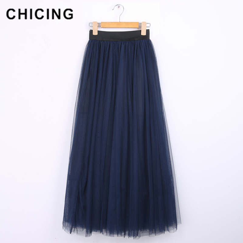 Aliexpress.com  Comprar CHICING 100 cm musulmanes Maxi faldas largas 2018  primavera 3 capas camisa malla plisada mujeres vestido de bola Flared Tutu  Tulle ... 7f7e7a87058a