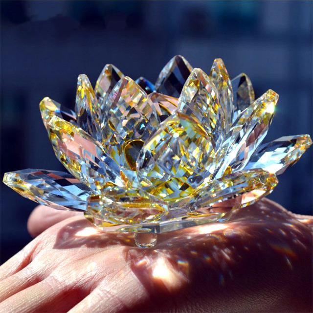 80mm Quartz Crystal Lotus Flower Crafts Glass Paperweight