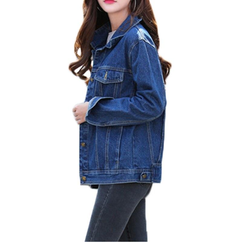 Image 4 - Las nuevas mujeres Denim chaqueta de primavera y otoño de manga  larga suelta básico rebelde abrigo de las mujeres Harajuku azul marino  chaqueta Jean corta abrigos A449chaquetas básicas