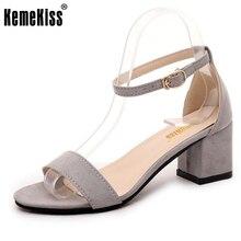Kemekiss женские босоножки на высоком каблуке пикантная обувь с открытым носком обувь с ремешком на щиколотке женские квадратный каблук Женская стильная обувь Размер 35–40